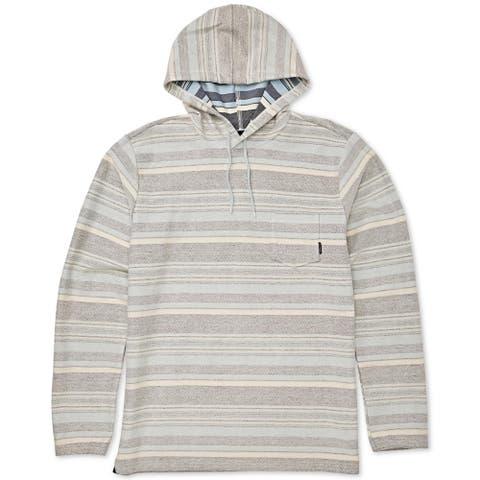 Billabong Mens Flecker Cinco Hoodie Cotton Pullover - Blue Stripe - S