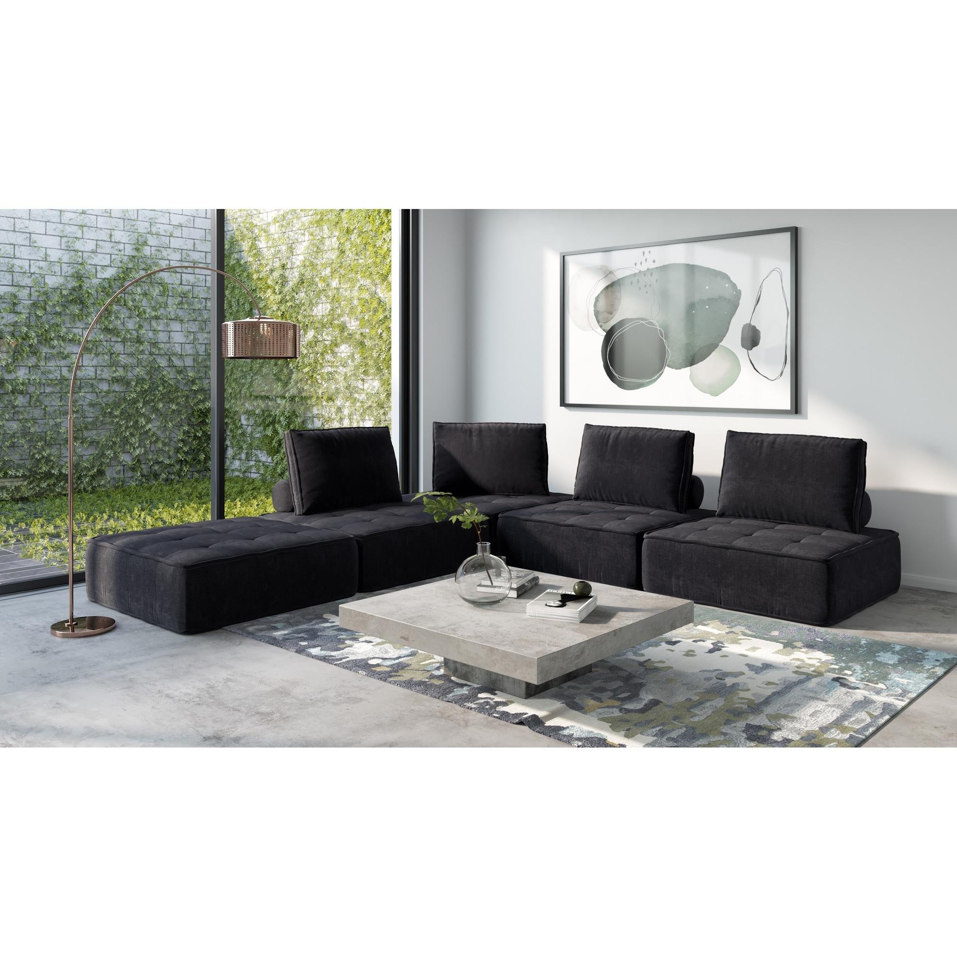 Divani Casa Nolden Modern Black Fabric Sectional Sofa On Sale Overstock 30609099