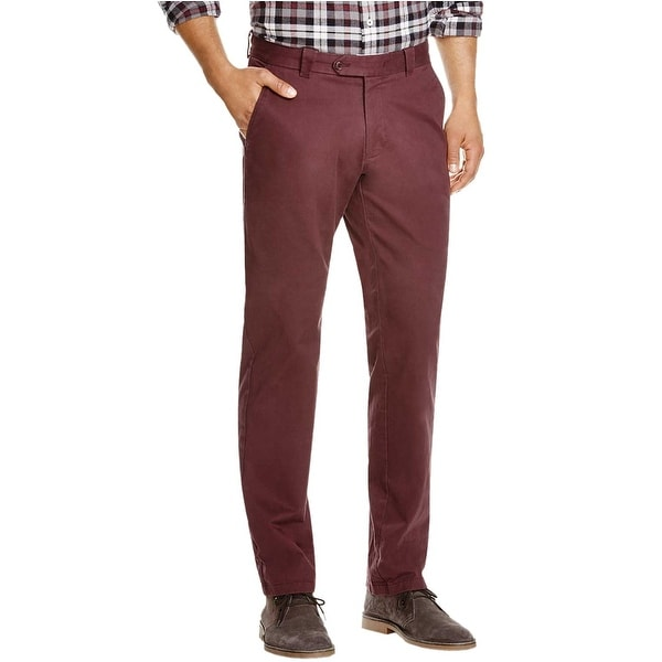 fine craftsmanship utterly stylish fashion styles Bloomingdales The Mens Store Flat Front Chinos Pants 34x32 Burgundy