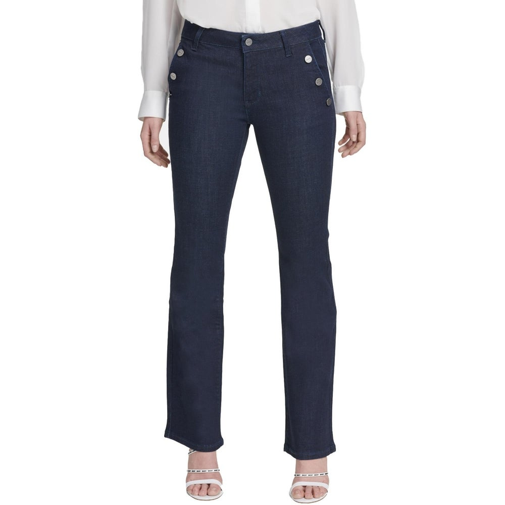 DKNY Womens Sailor Flare Jeans Denim High Rise