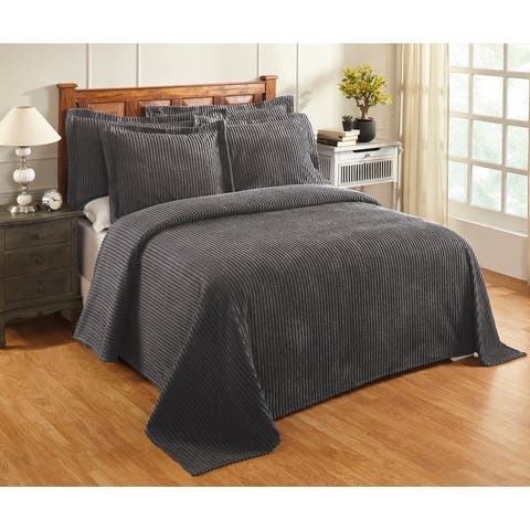 Better Trends Jullian Solid Stripes Design Bedspread 100% Cotton Tufted Chenille