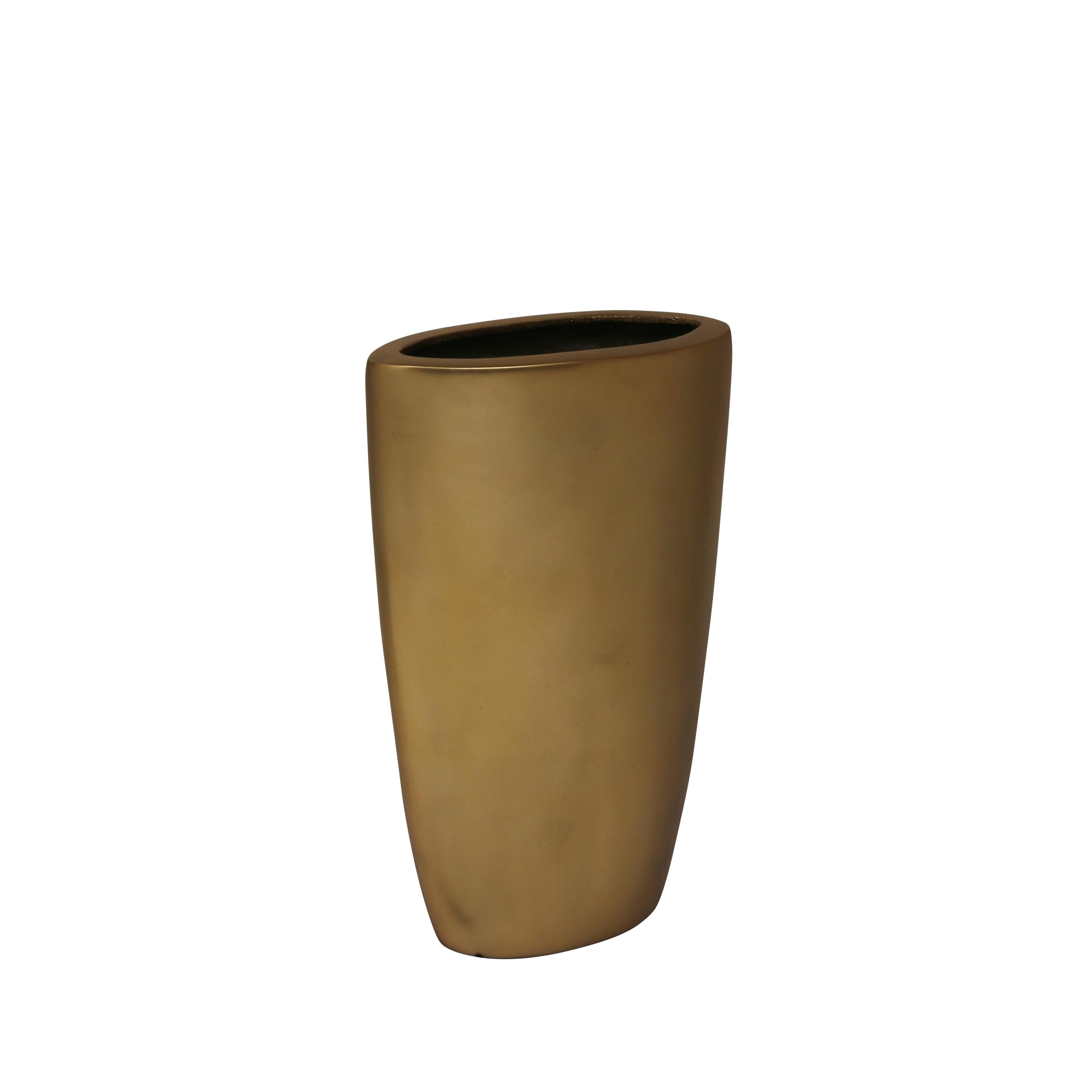 Decorative Oval Shaped Aluminium Vase, Small, Gold