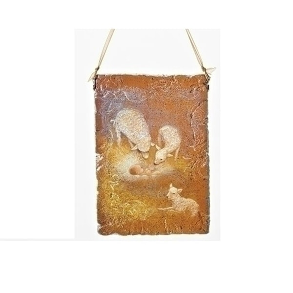 "5"" Orange Baby Jesus with Sheep Religious Decorative Christmas Plaque Ornament - GOLD"