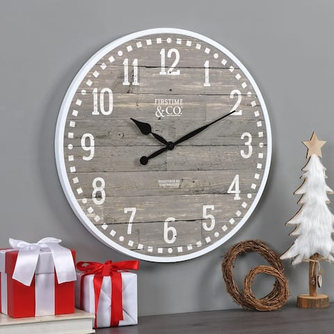 FirsTime & Co. Arlo Gray Farmhouse Wall Clock, American Crafted, Light Gray, Plastic, 20 x 2 x 20 in