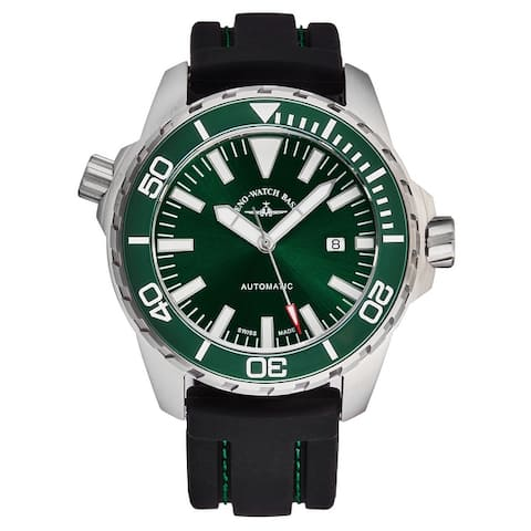 Zeno men's 6603-2824-A8 'divers' green dial black rubber strap automatic watch