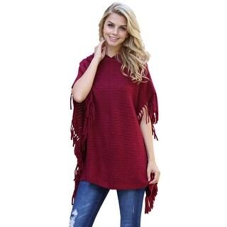 Riah Fashion's Hooded Fringed Cape Poncho - One size