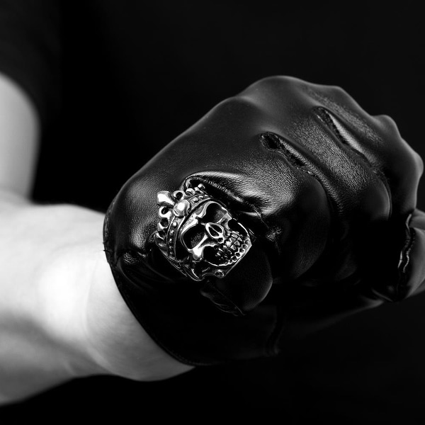 Vienna Jewelry Stainless Steel Skull King Ring