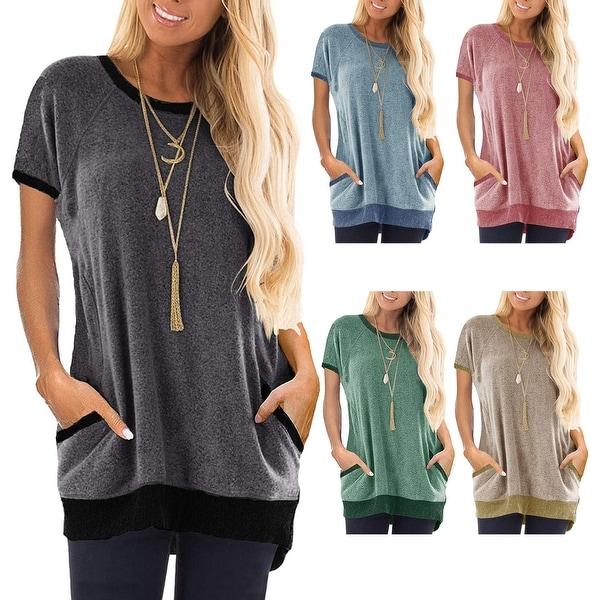 Haute Edition Short Sleeve Casual Pocket Short Sleeve Sweatshirt. Opens flyout.