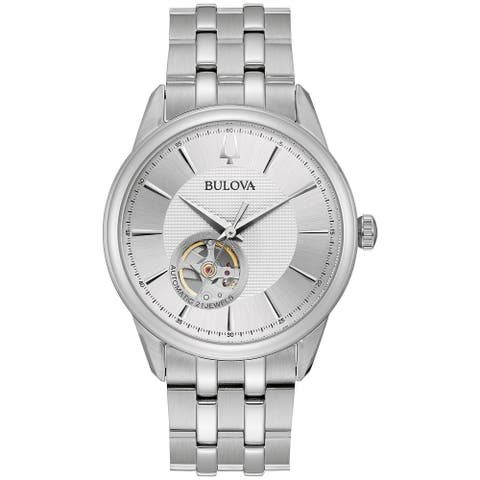 Bulova Men's 96A243 Automatic Stainless Bracelet Watch - Silver-Tone