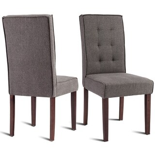 Gymax Set of 2 Parson Dining Chair Linen Fabric Upholstered with Solid Wood Legs Brown