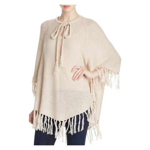 Design History Womens Poncho Sweater V-Neck Tie Poncho