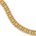 Italian 14k Gold Polished and Brushed Men's Link Bracelet - 8 inches - Thumbnail 0