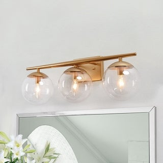 "Link to Modern 3-lights Bathroom Vanity Lighting Golden Wall Sconce Power Room Lights - L22""x H8.5""x E7.5"" Similar Items in Bathroom Vanity Lights"