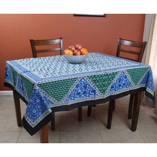 Cotton Floral Geometric Print Tablecloth Square 70x70 Inches Blue Green  Black   72 Inches