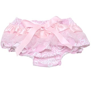Baby Girls Pink Scroll Pattern Ruffle Lace Bow Diaper Cover Bloomers 6-12M