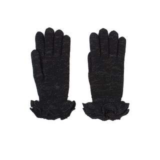 Womens Shimmery Ruffle Winter Gloves Lined