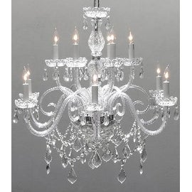 Chandelier Lighting Crystal Chandelier H27 x W32
