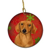 Dachshund Red Snowflake Holiday Christmas Ceramic Ornament