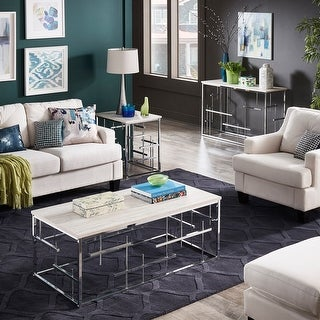 Link to Rina Chrome and White Faux Marble Cocktail Table and Table Set by iNSPIRE Q Bold Similar Items in Living Room Furniture