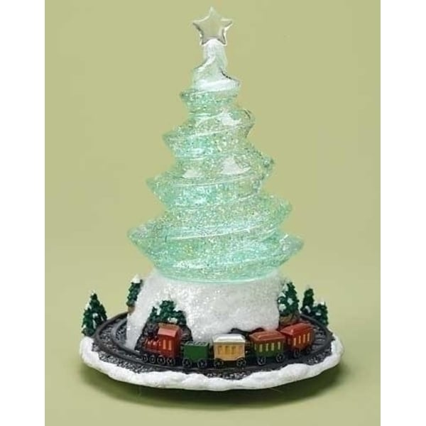 "9"" Swirling LED Lighted Christmas Tree Glitterdome Figure with Revolving Train"