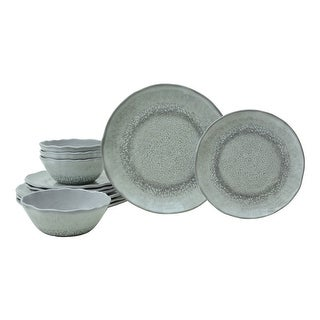 WILEY Grey 12 Pc Melmaine Dinnerware Set
