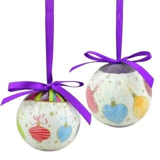 "10-Piece Purple and White Decoupage Shatterproof Christmas Ball Ornament Set 1.75"""