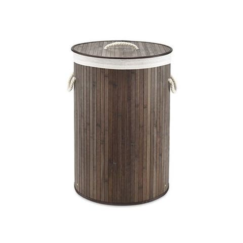 Whitmor 6277-6705 round bamboo hamper dark