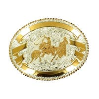 Crumrine Western Belt Buckle Oval Roper Filigree Silver Gold - 3 1/2 x 4 1/2