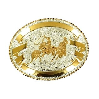 Crumrine Western Belt Buckle Oval Roper Filigree Silver Gold C02094 - 3 1/2 x 4 1/2