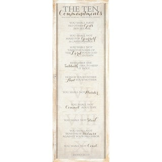 "Beige Ten Commandments Framed Wall Art Decor 32"" x 10"""