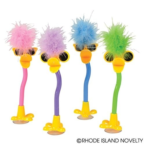 Dozen Assorted Color Plush Feather Boa Topper Duck Design Pens - 7""