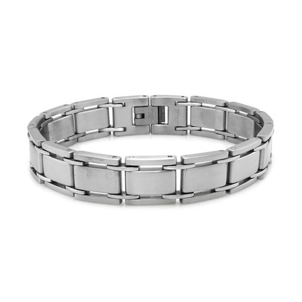 Stainless Steel Contemporary Satin Finish Link Bracelet - 8.25 inches