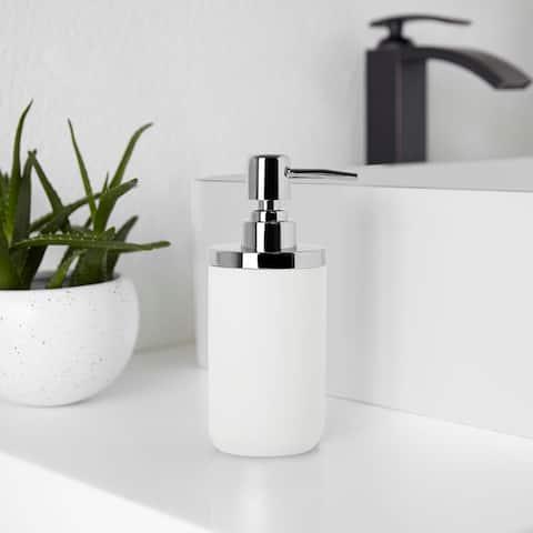 """Umbra 1008027 Junip 3 1/2"""" Wide Resin Soap Dispenser - Chrome / White"""