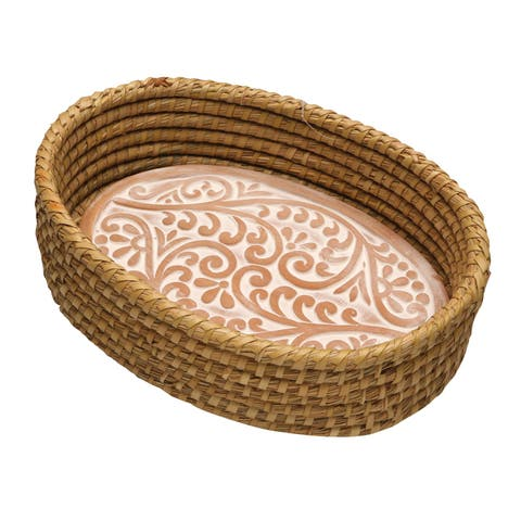 Serrv Terra Cotta Bread Warmer - Double Vine Pattern with Woven Bread Basket, Fair Trade Item - 12 in. x 3.5 in. x 8 in.