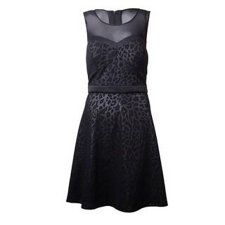Guess LA Women's Gisella Leopard Print Flare Dress - Black