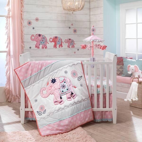 Shop Lambs & Ivy Boho Elephant Pink/Gray/White Nursery 5 ...