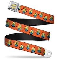 Minion Dave Face Close Up Full Color 6 Minions Standing Pose Orange Webbing Seatbelt Belt