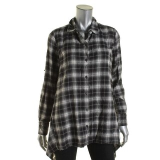 Pure DKNY Womens Plaid Button Front Tunic Top - S