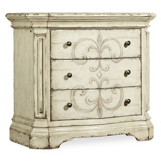 "Hooker Furniture 1595-90016-WH  Auberose 36"" Wide Poplar Three Drawer Nightstand - Antique White"