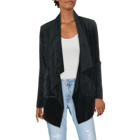 Splendid Women's Velour Open Front Draped Long Sleeve Cardigan Sweater - Black