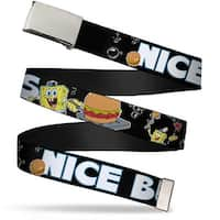 Blank Chrome Buckle SpongeBob & Krabby Patty Nice Buns For Adults Only Web Belt