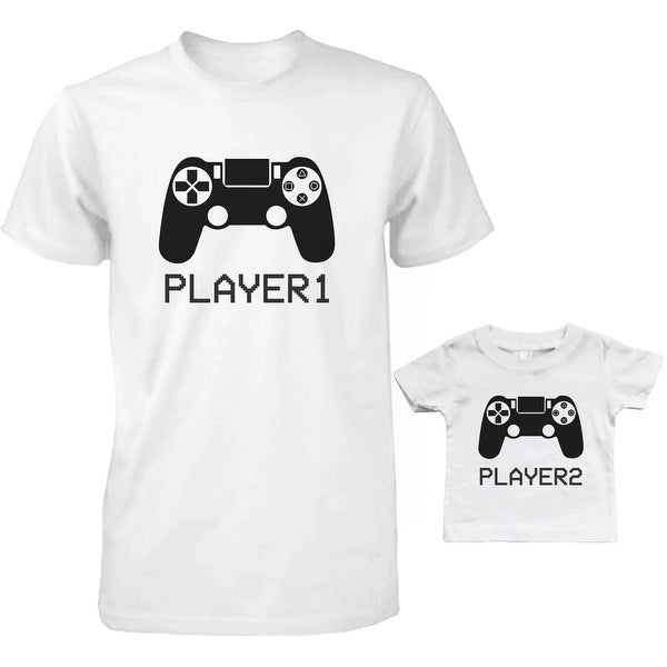 Player 1 and 2 Dad and Baby Matching T-Shirts