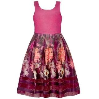 Bonnie Jean Little Girls Burgundy Flower Pattern Vibrant Sleeveless Dress