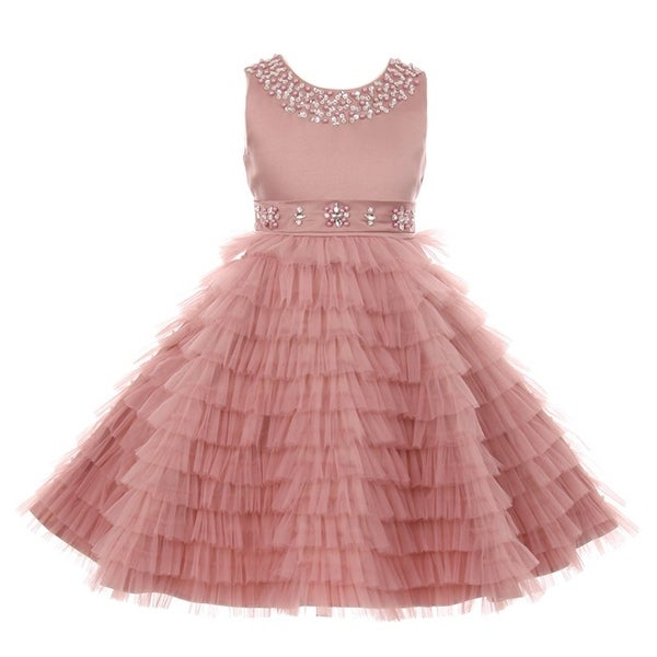 Little girls dusty rose sequined multi layer ruffle flower girl little girls dusty rose sequined multi layer ruffle flower girl dress 2 mightylinksfo
