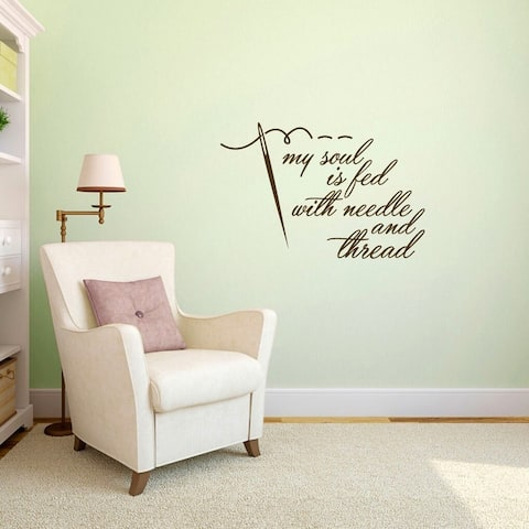 """Needle and Thread Sewing Wall Decal - 36"""" wide x 24"""" tall"""
