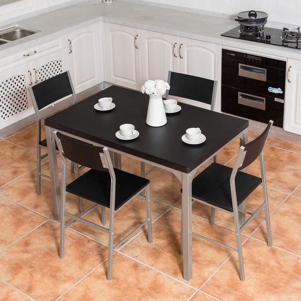 Shop Costway 5 Piece Dining Table & Chairs Set Wood Metal