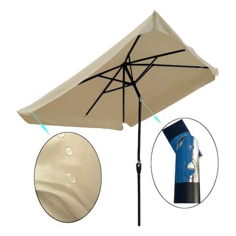 Nestfair 6.5ft Rectangular Patio Umbrella Outdoor Market Umbrellas with Crank