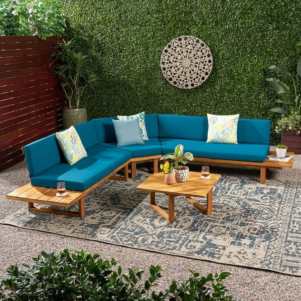 Mirabelle 4-piece Acacia Sectional Sofa Set by Christopher Knight Home. Opens flyout.