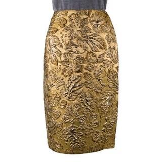 Prada Womens Gold Metallic Floral Embossed Pencil Skirt