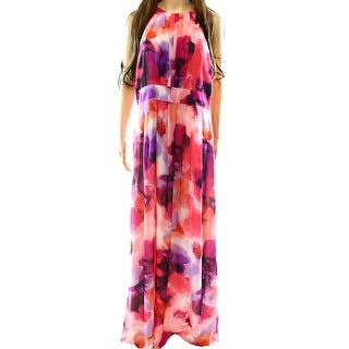 INC NEW Pink Women's Size 14 Pleated Neck Empire Waist Maxi Dress